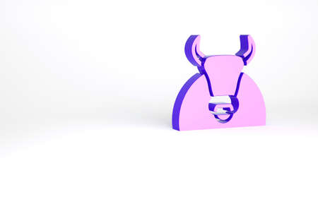 Purple Bull icon isolated on white background. Spanish fighting bull. Minimalism concept. 3d illustration 3D render