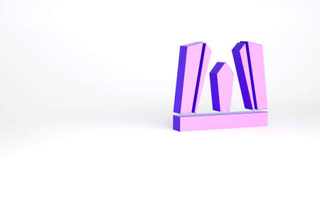Purple Gate of Europe icon isolated on white background. The Puerta de Europa towers. Madrid city, Spain. Minimalism concept. 3d illustration 3D render