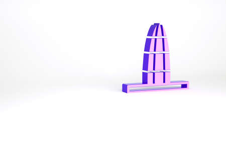 Purple Agbar tower icon isolated on white background. Barcelona, Spain. Minimalism concept. 3d illustration 3D render