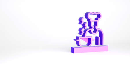 Purple Spanish cook icon isolated on white background. Minimalism concept. 3d illustration 3D render Archivio Fotografico