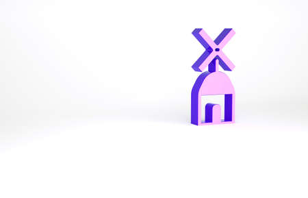 Purple Windmill icon isolated on white background. Minimalism concept. 3d illustration 3D render