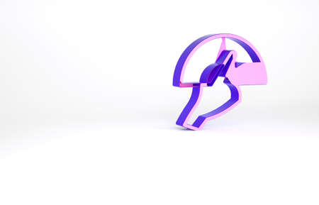 Purple Female hand with open fan flamenco accessory icon isolated on white background. Minimalism concept. 3d illustration 3D render