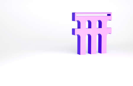 Purple Aqueduct of Segovia, Spain icon isolated on white background. Roman Aqueduct building. National symbol of Spain. Minimalism concept. 3d illustration 3D render