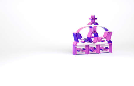 Purple Crown of spain icon isolated on white background. Minimalism concept. 3d illustration 3D render Archivio Fotografico