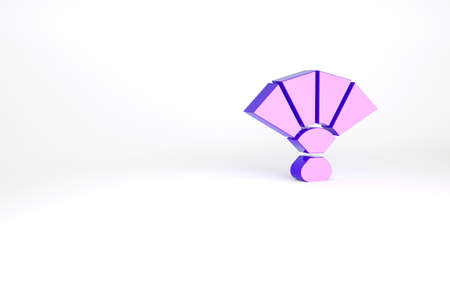 Purple Fan flamenco accessory icon isolated on white background. Minimalism concept. 3d illustration 3D render