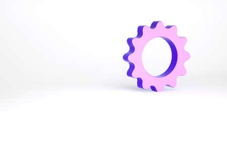 Purple Sun icon isolated on white background. Summer symbol. Good sunny day. Minimalism concept. 3d illustration 3D render