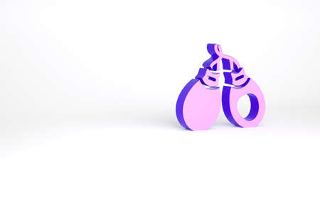 Purple Musical instrument castanets icon isolated on white background. Minimalism concept. 3d illustration 3D render