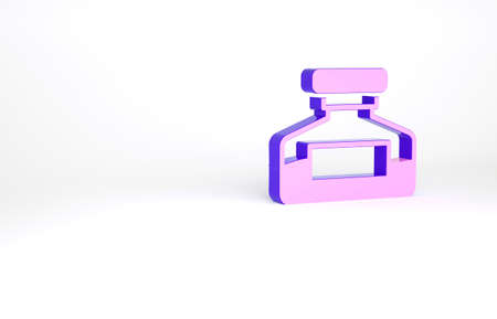Purple Ink bottle icon isolated on white background. Calligraphy supplies for fountain pen. Minimalism concept. 3d illustration 3D render