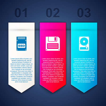 Set SSD card, Floppy disk and Hard drive HDD. Business infographic template. Vector