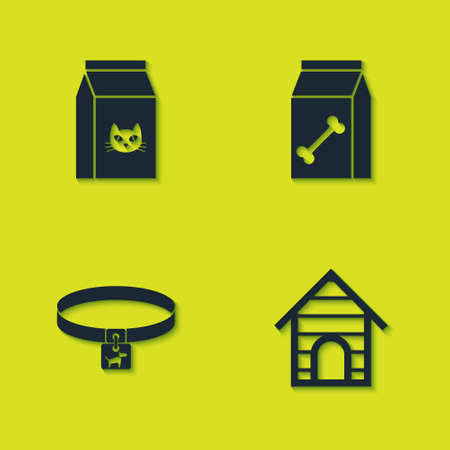 Set Bag of food for cat, Dog house, collar and pet icon. Vector