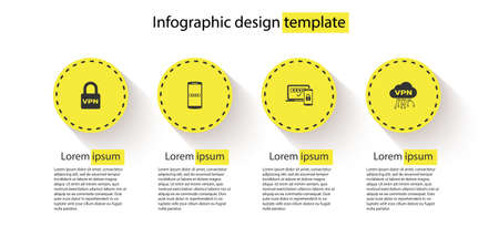 Set Lock VPN, Mobile and password, Two steps authentication and Cloud interface. Business infographic template. Vector