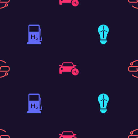 Set Light bulb with wind turbine, Hydrogen filling station, car and Chain link line on seamless pattern. Vector