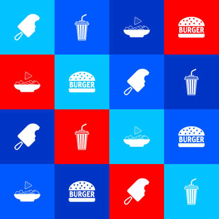 Set Ice cream, Glass with water, Nachos in plate and Burger icon. Vector