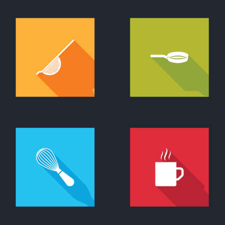 Set Kitchen colander, Frying pan, whisk and Coffee cup icon. Vector