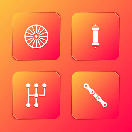 Set Alloy wheel, Shock absorber, Gear shifter and Car chain icon. Vector Ilustração