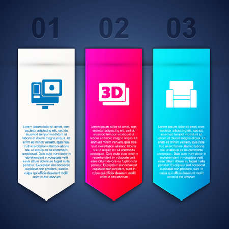 Set Action extreme camera, 3D word and Cinema chair. Business infographic template. Vector