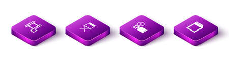 Set Isometric Play Video, Director movie chair, Cinema camera and SD card icon. Vector 일러스트