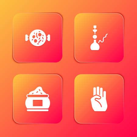 Set Chicken tikka masala, Hookah, Indian spice and symbol hand icon. Vector