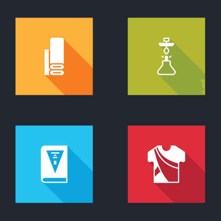 Set Indian textile fabric, Hookah, constitution day and man dress icon. Vector