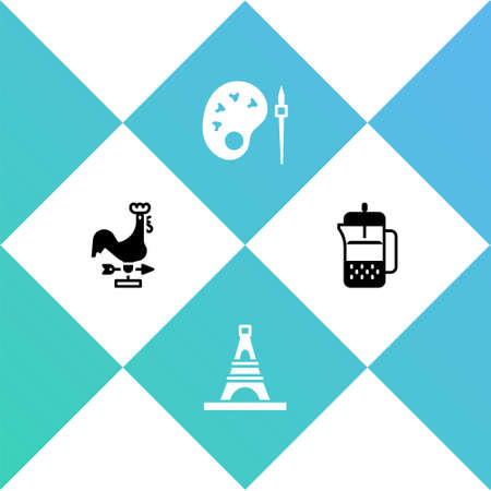 Set Rooster weather vane, Eiffel tower, Paint brush with palette and French press icon. Vector