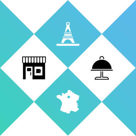 Set Coffee shop, Map France, Eiffel tower and Covered with tray icon. Vector