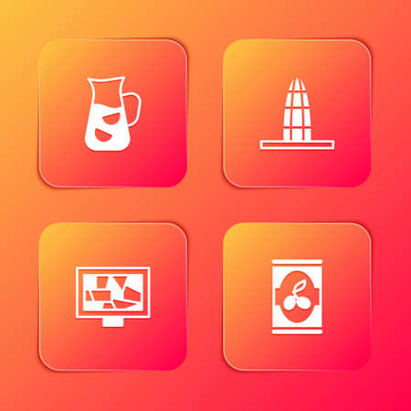 Set Sangria, Agbar tower, Picture art and Olives in can icon. Vector