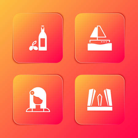 Set Bottle of olive oil, Yacht sailboat, Spanish woman and Gate Europe icon. Vector