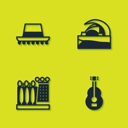 Set Spanish hat, guitar, Dali museum and Concert hall de Tenerife icon. Vector
