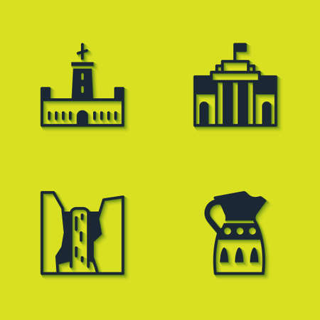 Set Montjuic castle, Sangria pitcher, Algar waterfall and Prado museum icon. Vector