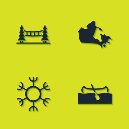 Set Capilano Suspension Bridge, Kayak or canoe, Snowflake and Canada map icon. Vector