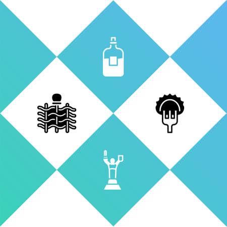 Set Wicker fence, Mother Motherland monument, Bottle of vodka and Dumplings fork icon. Vector
