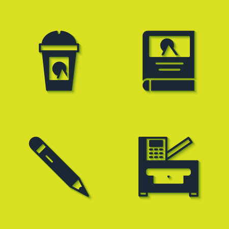 Set Coffee cup to go, Copy machine, Pencil with eraser and Photo album gallery icon. Vector