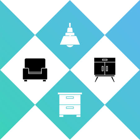 Set Armchair, Furniture nightstand, Chandelier and Chest of drawers icon. Vector
