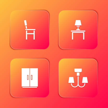 Set Chair, Table lamp on table, Wardrobe and Chandelier icon. Vector