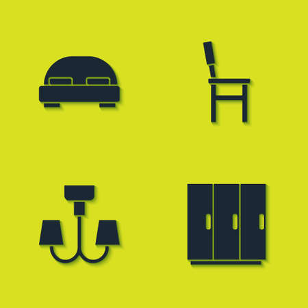 Set Big bed, Wardrobe, Chandelier and Chair icon. Vector