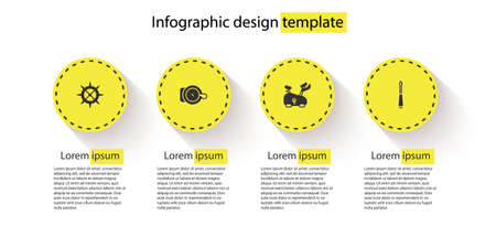 Set Bicycle sprocket crank, bell, Stationary bicycle and Screwdriver. Business infographic template. Vector