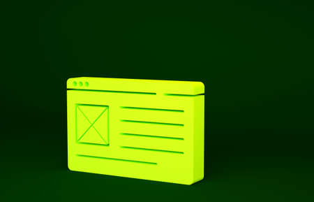 Yellow Browser window icon isolated on green background. Minimalism concept. 3d illustration 3D render