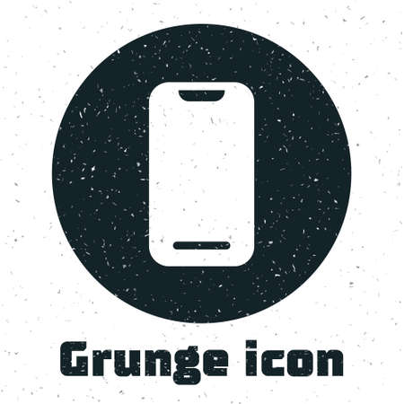 Grunge Smartphone, mobile phone icon isolated on white background. Monochrome vintage drawing. Vector