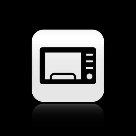 Black Microwave oven icon isolated on black background. Home appliances icon. Silver square button. Vector