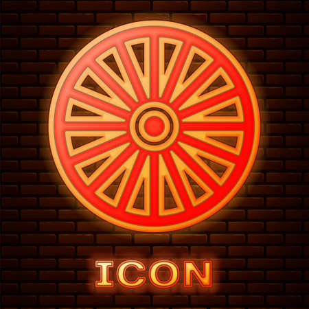 Glowing neon Alloy wheel for a car icon isolated on brick wall background. Vector Vettoriali