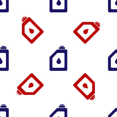 Blue and red Canister for motor machine oil icon isolated seamless pattern on white background. Oil gallon. Oil change service and repair. Engine oil sign. Vector