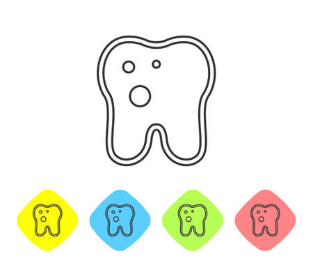 Grey line Tooth with caries icon isolated on white background. Tooth decay. Set icons in color rhombus buttons. Vector