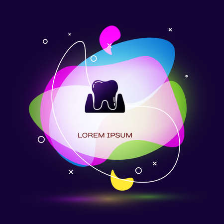 Black Tooth icon isolated on blue background. Tooth symbol for dentistry clinic or dentist medical center and toothpaste package. Abstract banner with liquid shapes. Vector