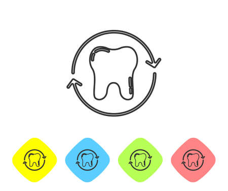 Grey line Tooth whitening concept icon isolated on white background. Tooth symbol for dentistry clinic or dentist medical center. Set icons in color rhombus buttons. Vector  イラスト・ベクター素材