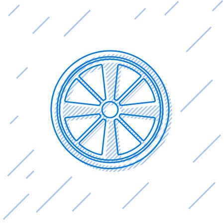 Blue line Alloy wheel for a car icon isolated on white background. Vector Vettoriali