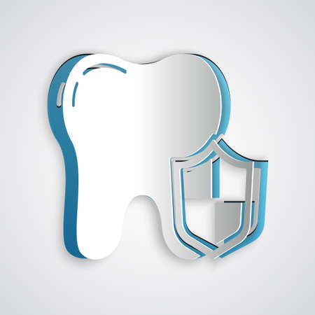 Paper cut Dental protection icon isolated on grey background. Tooth on shield logo. Paper art style. Vector