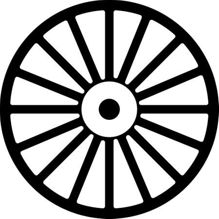 Black Alloy wheel for a car icon isolated on white background. Vector