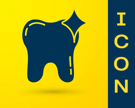 Blue Tooth whitening concept icon isolated on yellow background. Tooth symbol for dentistry clinic or dentist medical center. Vector