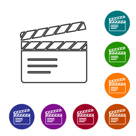 Black line Movie clapper icon isolated on white background. Film clapper board. Clapperboard sign. Cinema production or media industry. Set icons in color circle buttons. Vector
