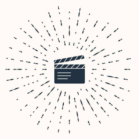 Grey Movie clapper icon isolated on beige background. Film clapper board. Clapperboard sign. Cinema production or media industry. Abstract circle random dots. Vector